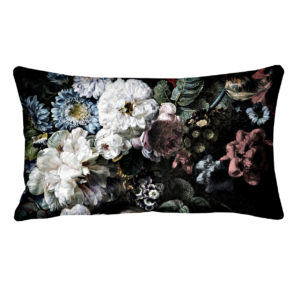 Blooming White Oblong Cushion