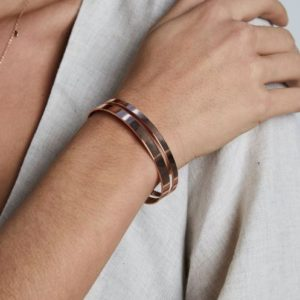 Rosefield Iggy Double Bar Bangle in Rose Gold