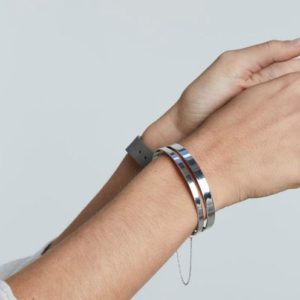 Rosefield Iggy Double Bar Bangle in Silver