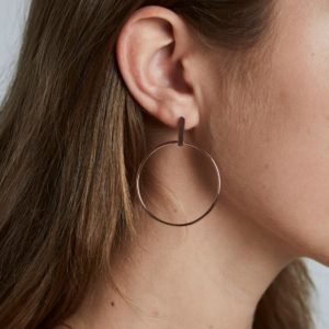 Rosefield Iggy Hoop Bar Earrings in Rose Gold