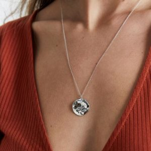 Rosefield Iggy Textured Coin Necklace in Silver