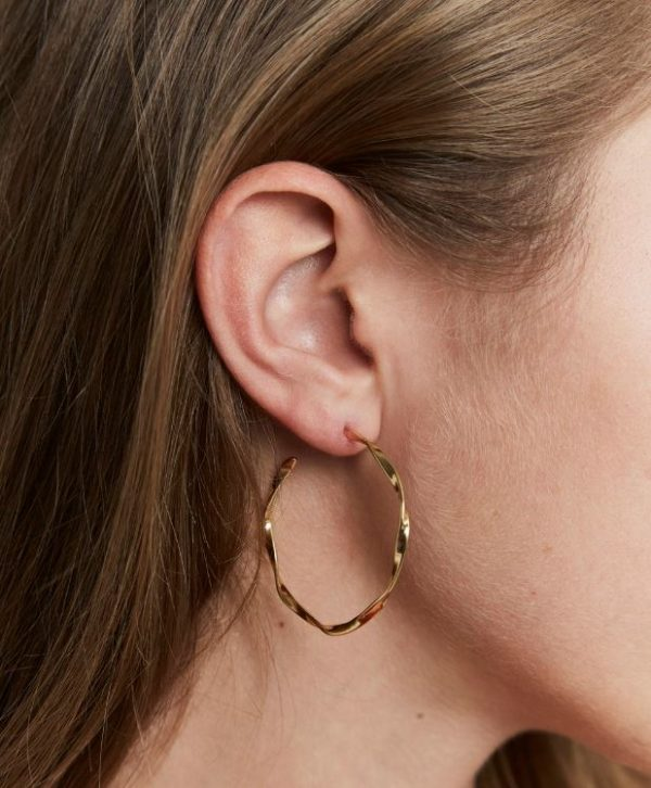 Rosefield Iggy Twisted Hoop Earrings in Gold