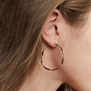 Rosefield Iggy Twisted Hoop Earrings in Rose Gold