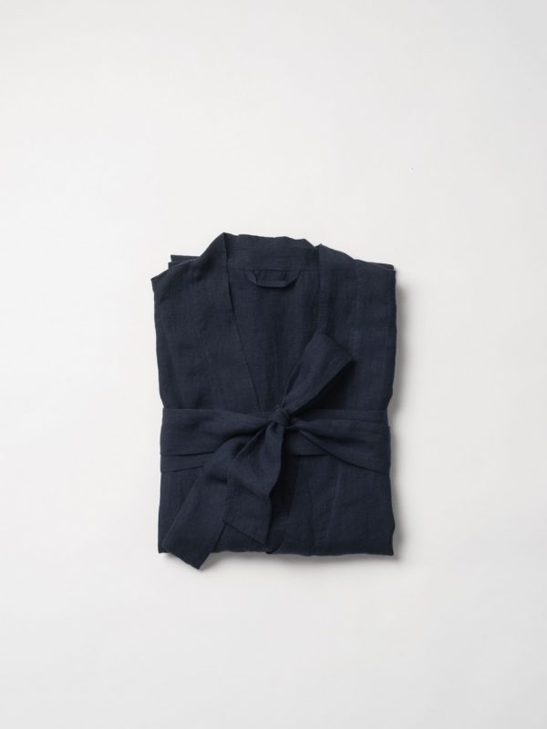 Beau Linen Men's Dressing Gown by Citta - Navy