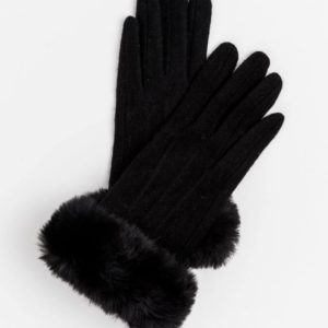 Stella and Gemma Black Wool Gloves with Fur Trim