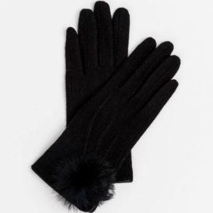 Stella and Gemma Black Wool Pompom Gloves