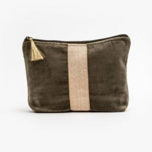 Stella and Gemma Velvet Cosmetic Bag in Khaki