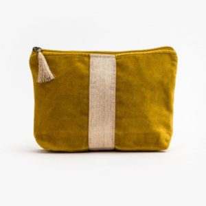 Stella and Gemma Velvet Cosmetic Bag in Mustard