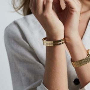 Rosefield Iggy Double Bar Bangle in Gold