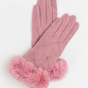 Stella and Gemma Blush Wool Gloves with Fur Trim
