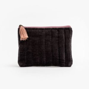 Stella and Gemma Velvet Pouch in Grey