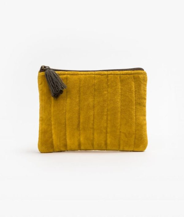 Stella and Gemma Velvet Pouch in Mustard
