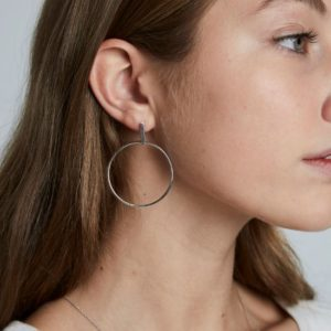 Rosefield Iggy Hoop Bar Earrings in Silver