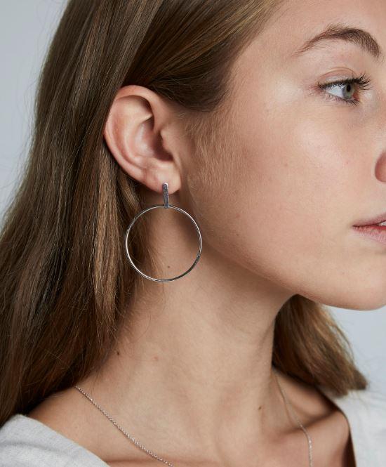 Rosefield Iggy Hoop Bar Earrings in Silver