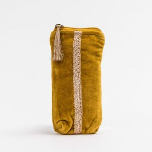Stella and Gemma Velvet Glasses Case in Mustard