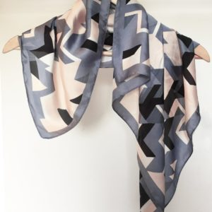 Stella and Gemma Grey, Peach and Black Square Scarf