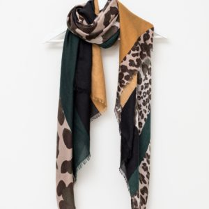 Stella and Gemma Khaki and Tan Leopard Patch Scarf