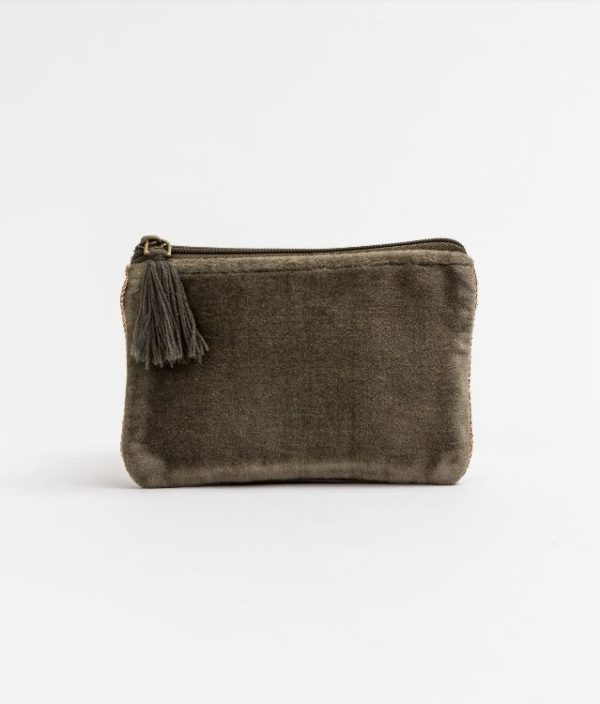 Stella and Gemma Small Velvet Pouch in Grey