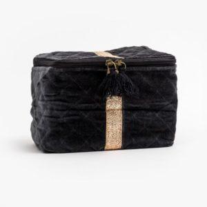 Stella and Gemma Velvet Vanity Bag in Grey
