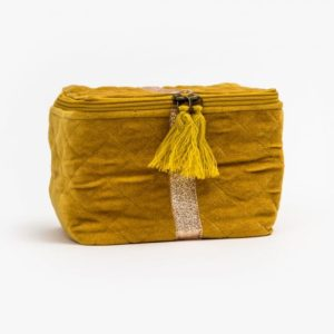 Stella and Gemma Velvet Vanity Bag in Mustard