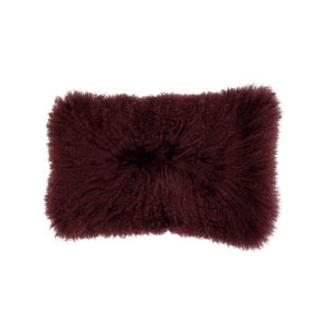 Berry Mongolian Fur Cushion