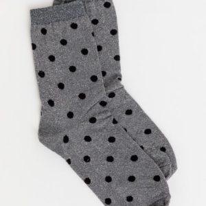 Stella & Gemma Metallic Spot Silver Socks