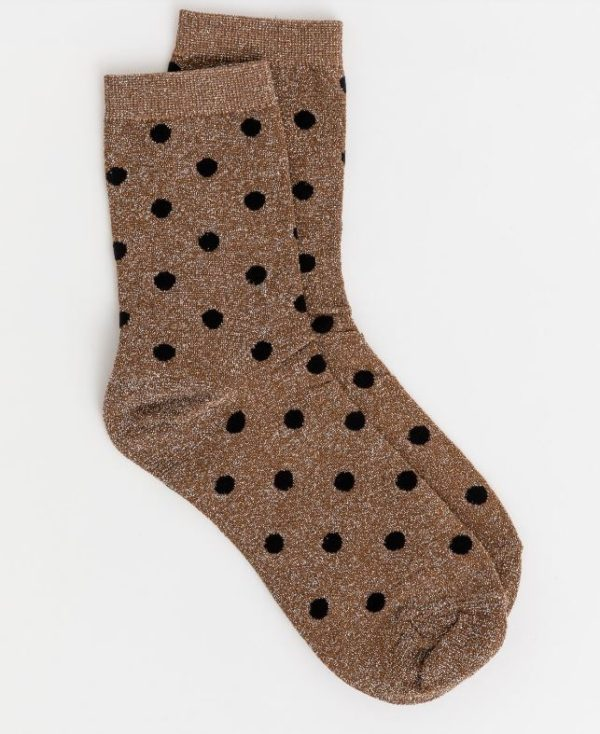 Stella & Gemma Metallic Spot Gold Socks