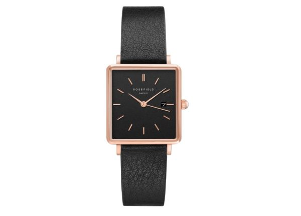 Rosefield - The Boxy - Rose Gold/Black Leather